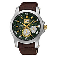 Seiko Premier Kinetic Perpetual Men's Leather Strap Watch - Product number 3690857