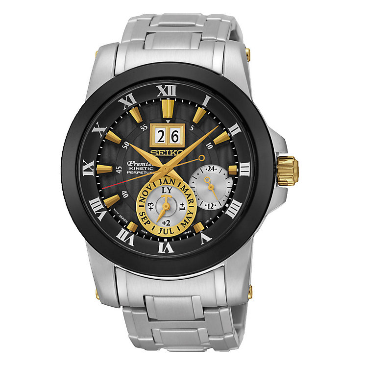 Seiko Premier Kinetic Perpetual Men's Steel Bracelet Watch - Product number 3690873