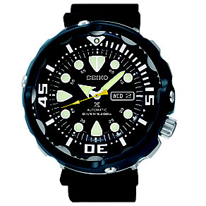 Seiko Prospex Men's Diver's Black Silicone Strap Watch - Product number 3690881
