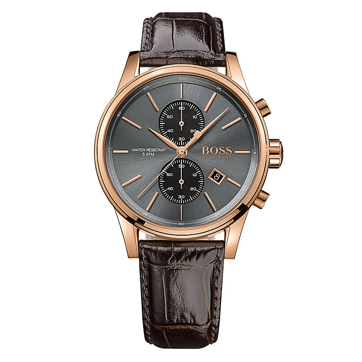 Hugo Boss Jet men's rose gold-plated leather strap watch - Product number 3692108