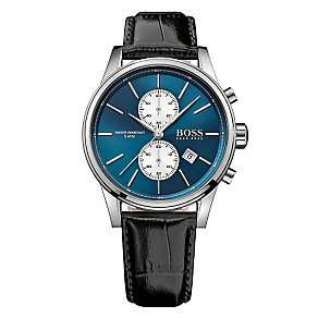 Hugo Boss Jet men's stainless steel leather strap watch - Product number 3692132