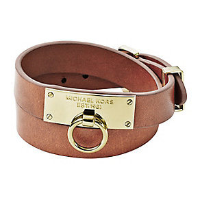 Michael Kors Ladies' Gold Tone Brown Leather Wrap Bracelet - Product number 3692655