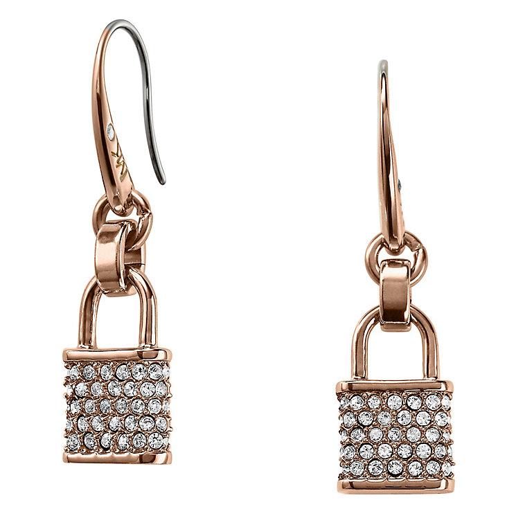 Michael Kors Rose Gold Tone Stone Set Drop Earrings - Product number 3692701