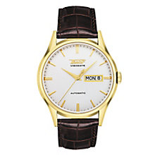 Tissot Visodate men's gold-plated brown leather strap watch - Product number 3692744