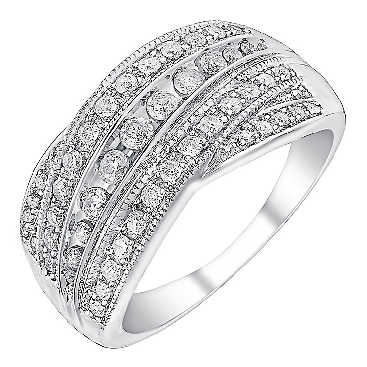 9ct white gold 0.50ct diamond five row crossover ring - Product number 3693058