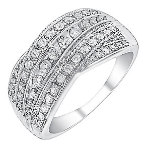 9ct white gold half carat diamond five row crossover ring - Product number 3693058