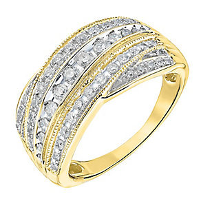 9ct gold half carat diamond five row crossover ring - Product number 3693171