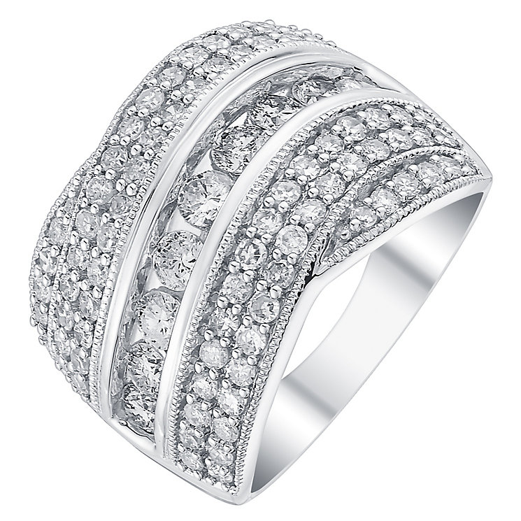 18ct white gold 1.5ct diamond five row crossover ring - Product number 3694038