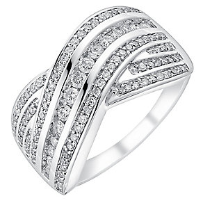 9ct white gold half carat diamond five row crossover ring - Product number 3700798