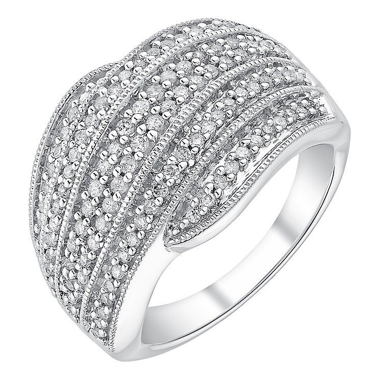 9ct white gold half carat diamond wave crossover ring - Product number 3701069