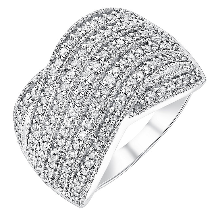 9ct white gold half carat diamond seven row crossover ring - Product number 3701433