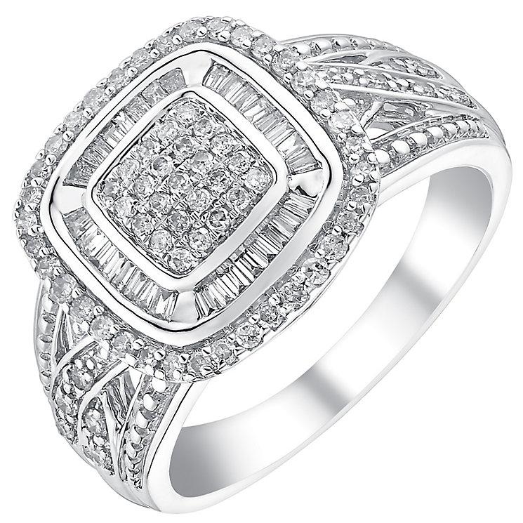 9ct white gold half carat double halo diamond set - Product number 3701891