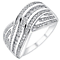 18ct white gold half carat diamond five row crossover ring - Product number 3702146