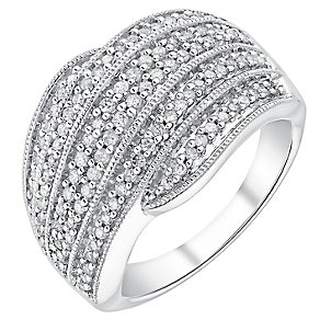 18ct white gold half carat diamond wave crossover ring - Product number 3702413