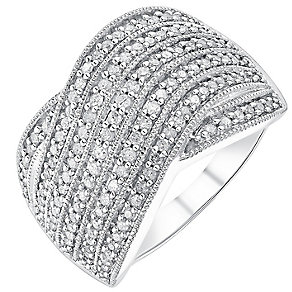18ct white gold half carat diamond seven row crossover ring - Product number 3702650