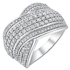 18ct white gold one carat diamond seven row crossover ring - Product number 3702820