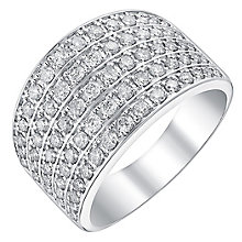 18ct white gold 1ct diamond five row band - Product number 3703045