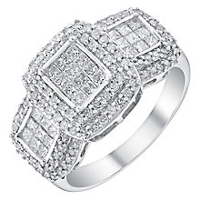 18ct white gold 1ct double halo trilogy ring - Product number 3703452