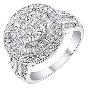 18ct white gold 1ct diamond halo cluster ring - Product number 3703789