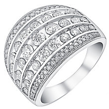 18ct white gold 1.5ct five row diamond band - Product number 3704114