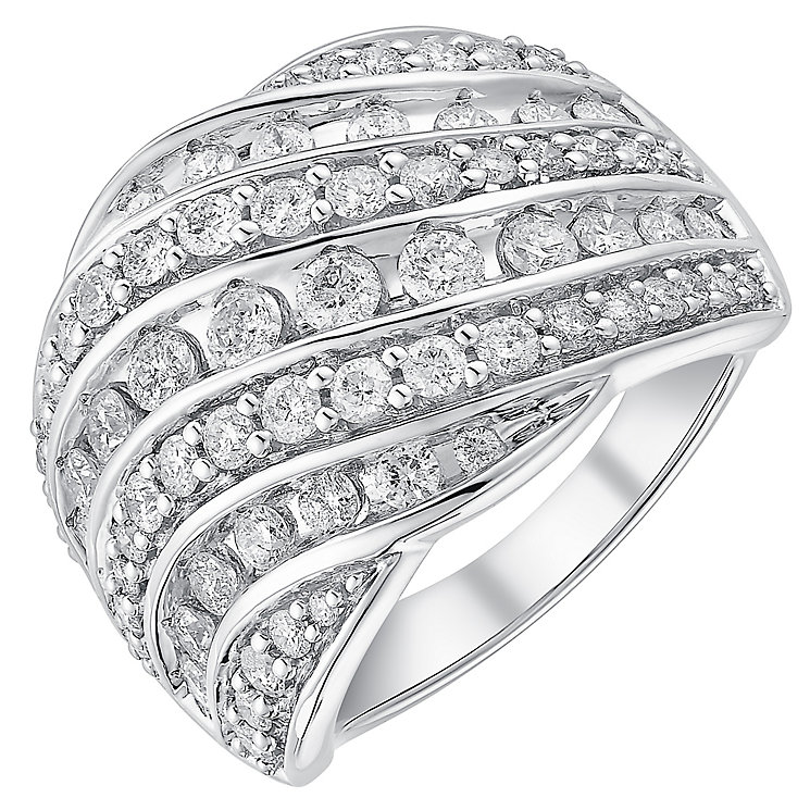 18ct white gold 1.5ct four row diamond band - Product number 3704254