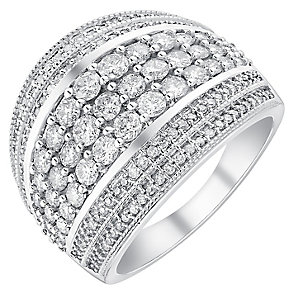 18ct white gold 1.5ct seven row diamond band - Product number 3704505