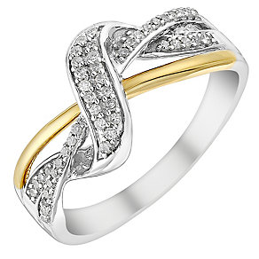 9ct yellow & white gold 0.15ct diamond ring - Product number 3704637