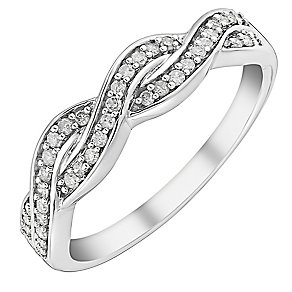 9ct white gold 0.15ct diamond ring - Product number 3704904
