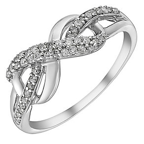 9ct white gold 0.20ct diamond ring - Product number 3705080