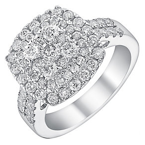 18ct white gold 1.5ct diamond double halo ring - Product number 3705528