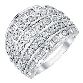 18ct white gold 2ct three row diamond band - Product number 3706079