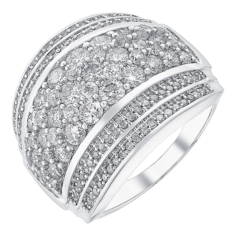 18ct white gold 2ct seven row diamond band - Product number 3706346