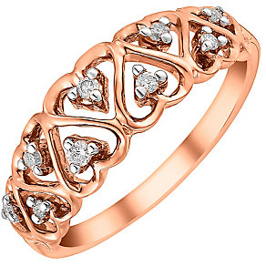 9ct rose gold diamond ring - Product number 3706559