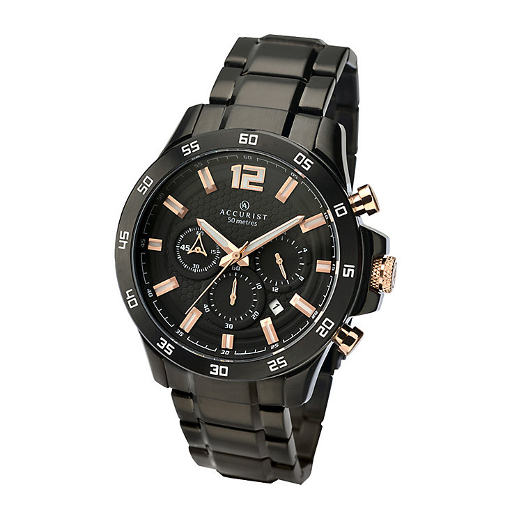 Accurist Men's Black Ion-Plated Bracelet Watch - Product number 3709094