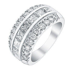 18ct white gold 3ct seven stone certificated diamond ring - Product number 3709485