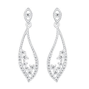 Sterling Silver & Cubic Zirconia Leaf Design Drop Earrings - Product number 3716333