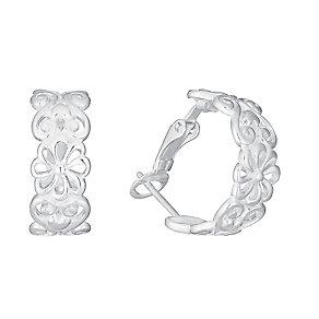 Sterling Silver Cut Away Flower Design Hoop Earrings - Product number 3716341