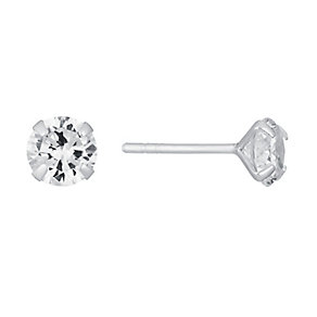 Sterling Silver & Round Cubic Zirconia 6mm Stud Earrings - Product number 3716538