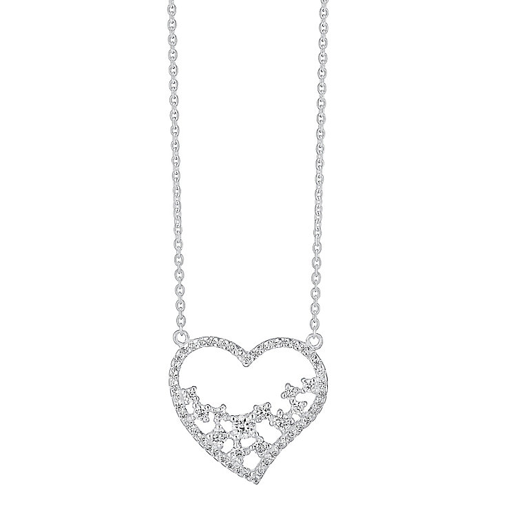 Sterling Silver & Cubic Zirconia Cut Away Heart Pendant - Product number 3716546