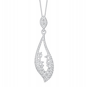 Sterling Silver & Cubic Zirconia Leaf Design Drop Pendant - Product number 3716554