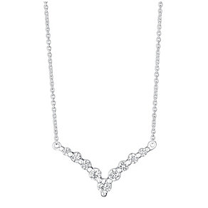 Sterling Silver & Cubic Zirconia Wishbone Necklace - Product number 3716562