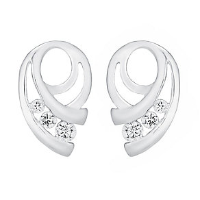 Sterling Silver & Cubic Zirconia Swirl Stud Earrings - Product number 3716902