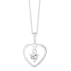 Sterling Silver & Dangling Cubic Zirconia Heart Pendant - Product number 3716910