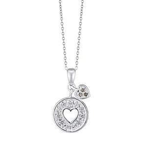 Sterling Silver Round Disk & Heart Charm Pendant - Product number 3716937