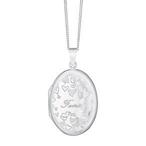 Sterling Silver Oval Engraved Family Locket - Product number 3716961