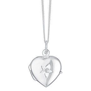 Sterling Silver & Diamond Heart Shaped Locket - Product number 3717283