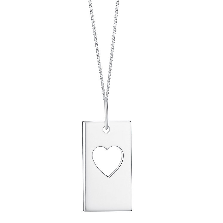 Sterling Silver Cut Out Heart Detail Dog Tag Pendant - Product number 3717380