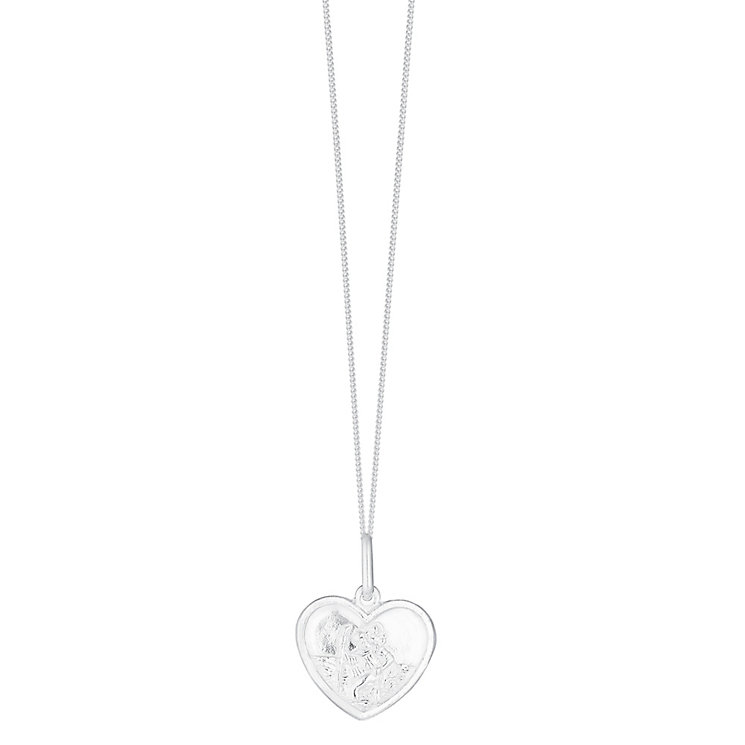 Sterling Silver Heart Shaped St Christopher Pendant - Product number 3717399