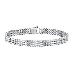 Sterling Silver & Crystal Triple Row Bracelet - Product number 3717844
