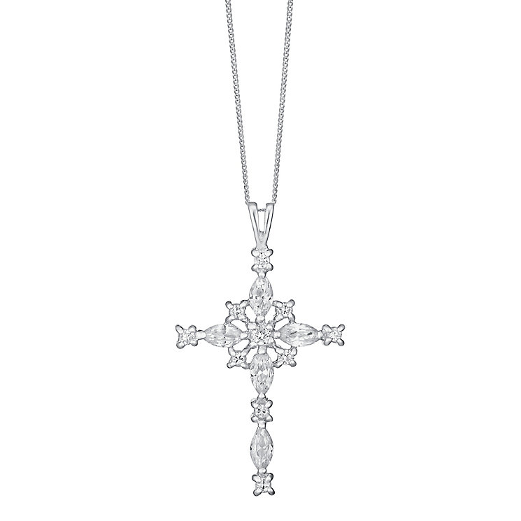 Sterling Silver & Cubic Zirconia Fancy Cross Pendant - Product number 3717852